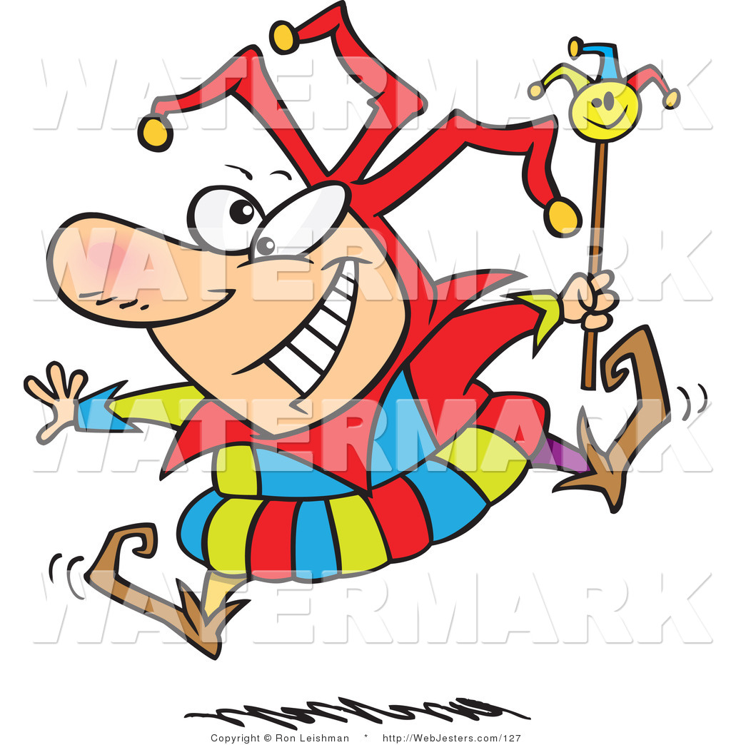 Clipart of a Cartoon Happy Fool Smiling and Jumping by Ron.