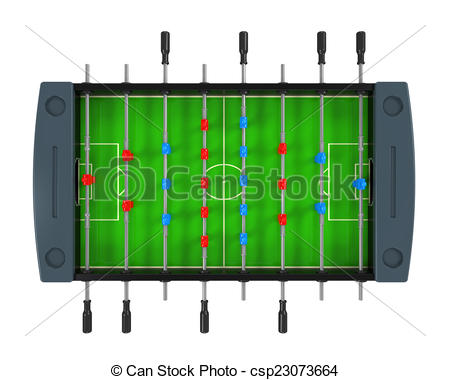 Stock Illustration of Foosball Soccer Table Game isolated on white.