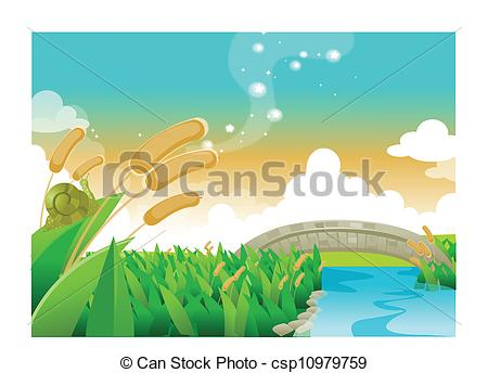 Clipart Vector of Foot bridge over river.