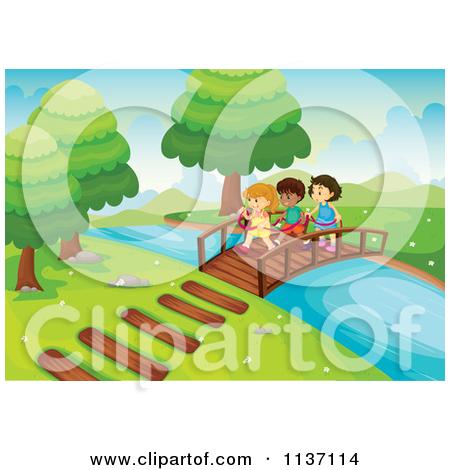 Clipart Landscape Background Of A Brick Foot Bridge Over A Stream.