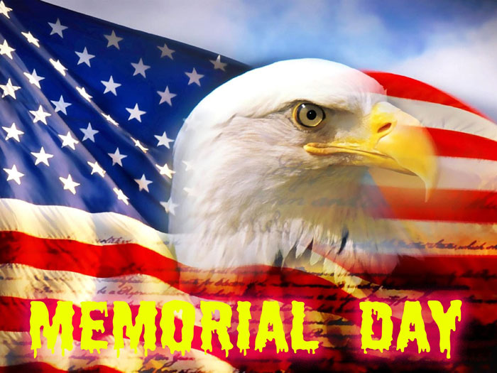 Memorial Day Eagle And American Flag.