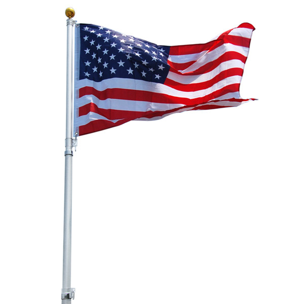 16' American Aluminum Telescoping Flag Pole Set.