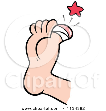 Cartoon Of A Sore Bandaged Toe.