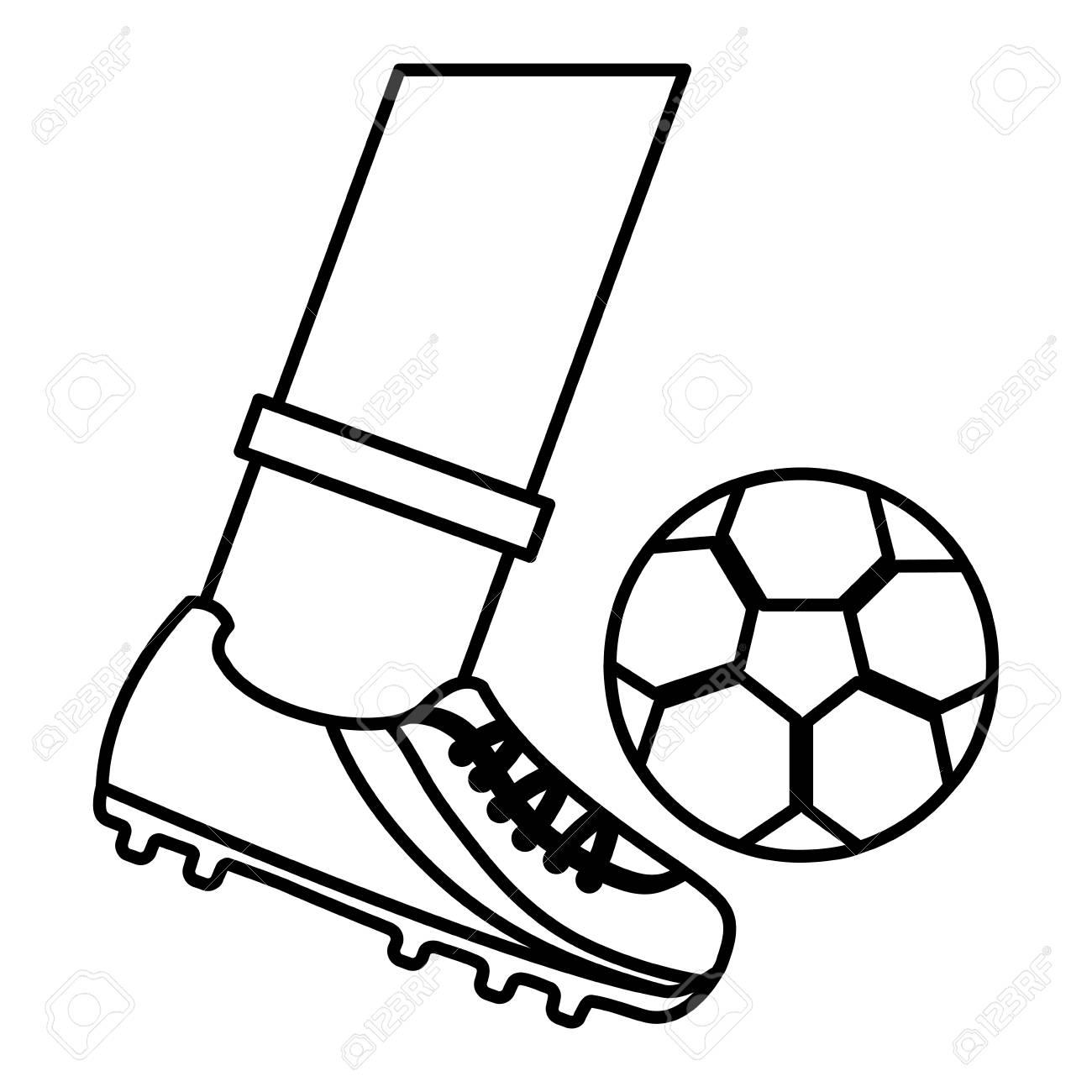 foot kicking ball football soccer icon image vector illustration...