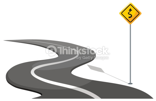 Road With Yellow Signage Vector Art.