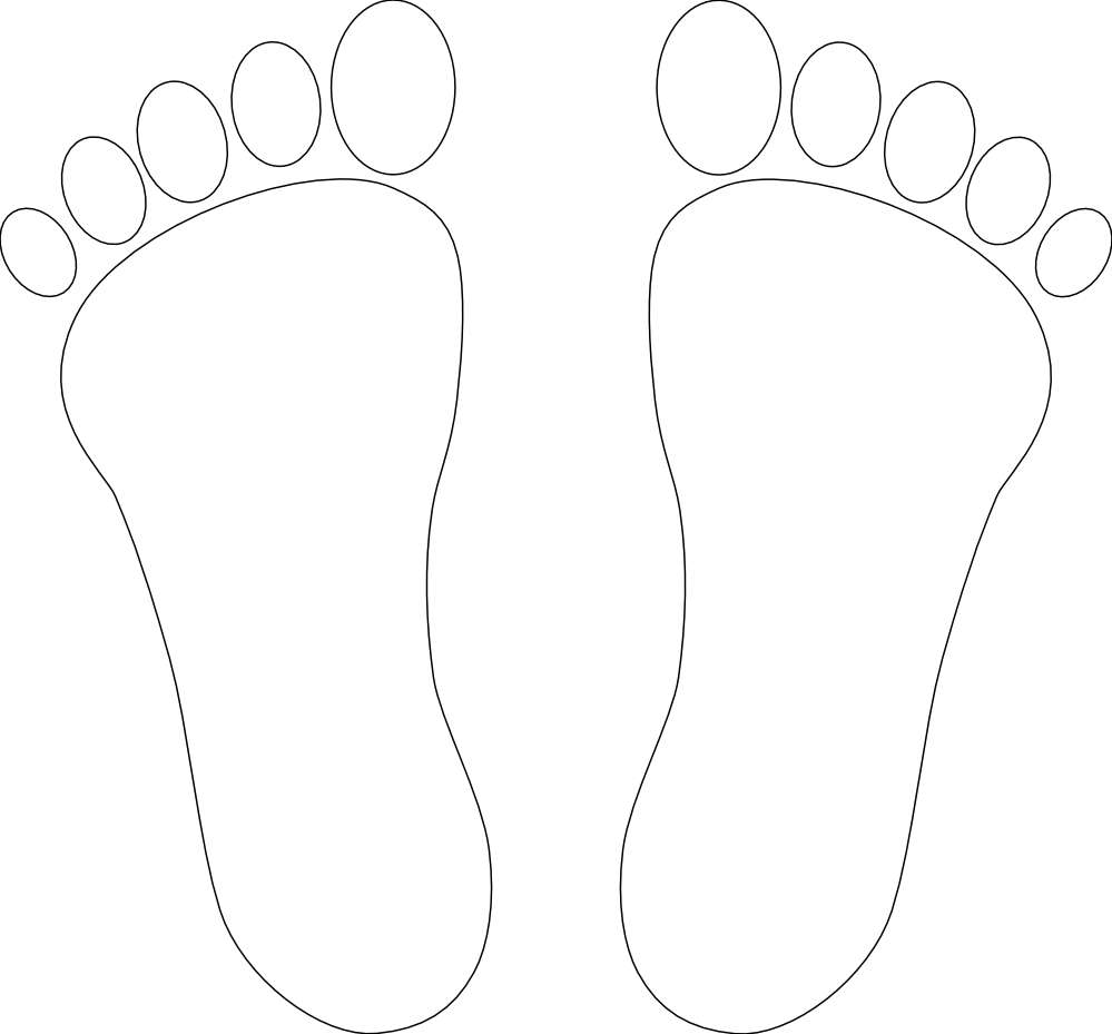 clipartist.net » Clip Art » foot print two black white line art SVG.