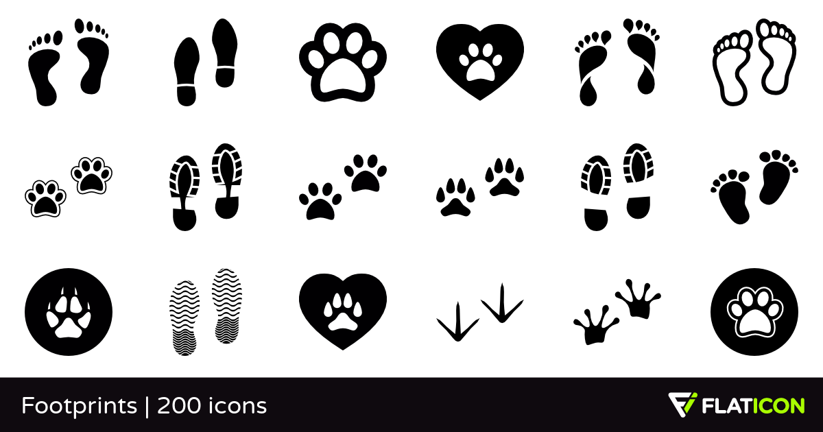 Footprints 200 free icons (SVG, EPS, PSD, PNG files).