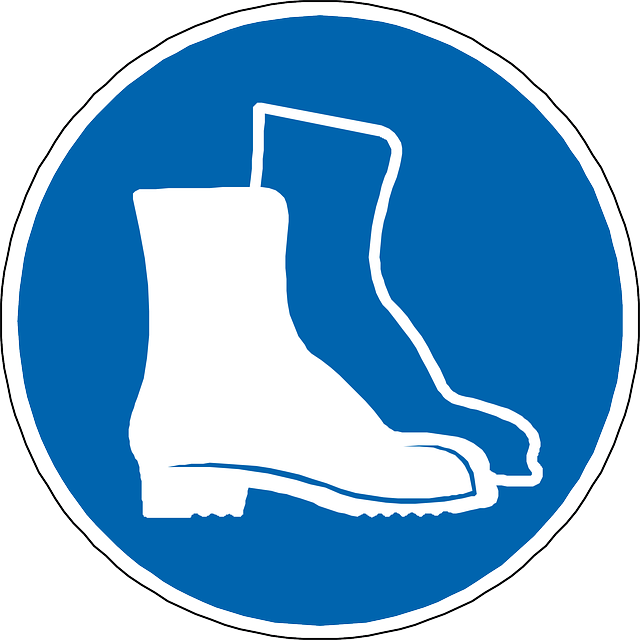 Free vector graphic: Foot Protection, Boots, Blue, Sign.