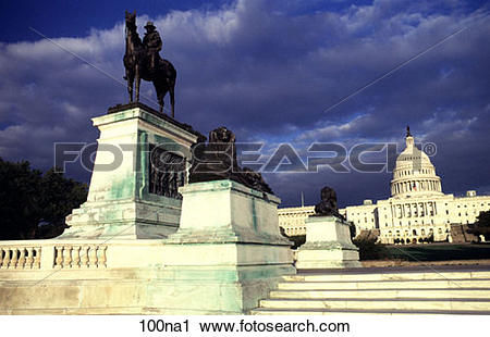 Stock Photography of Statues at the Foot of Capitol Hill.