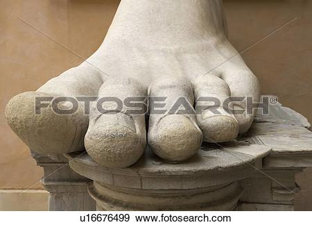 Stock Photograph of Close up of the foot of Constantine statue.