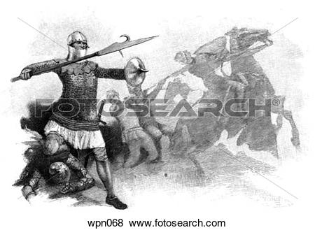 Stock Illustration of Foot Soldier at Poitiers, 1356 wpn068.