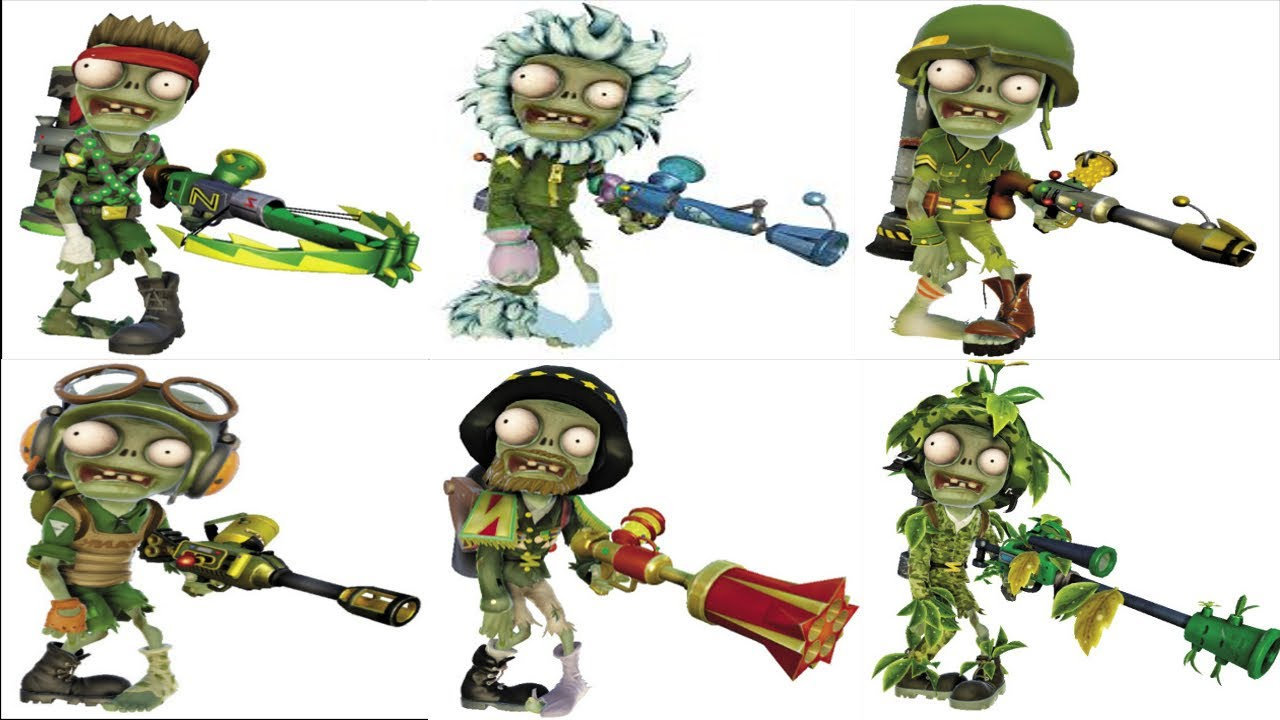 Plants vs. Zombies: Garden Warfare All Zombie Characters.