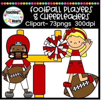 Football Players & Cheerleaders Clipart.