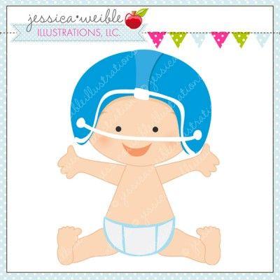 Baby in Football Helmet.