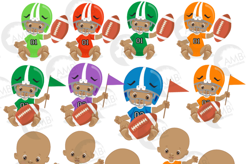 Sport baby, football player baby, clipart, graphics AMB.