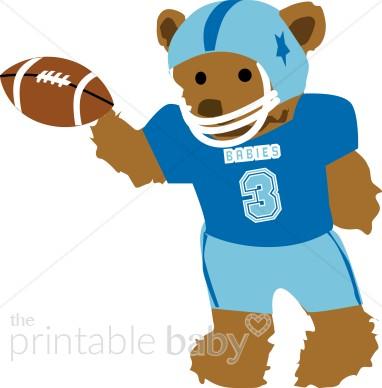 Teddy Bear Football Player Clipart.