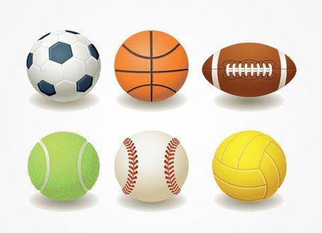 Football, Basketball, Rugby, Teniss & Baseball Ball, free vector.
