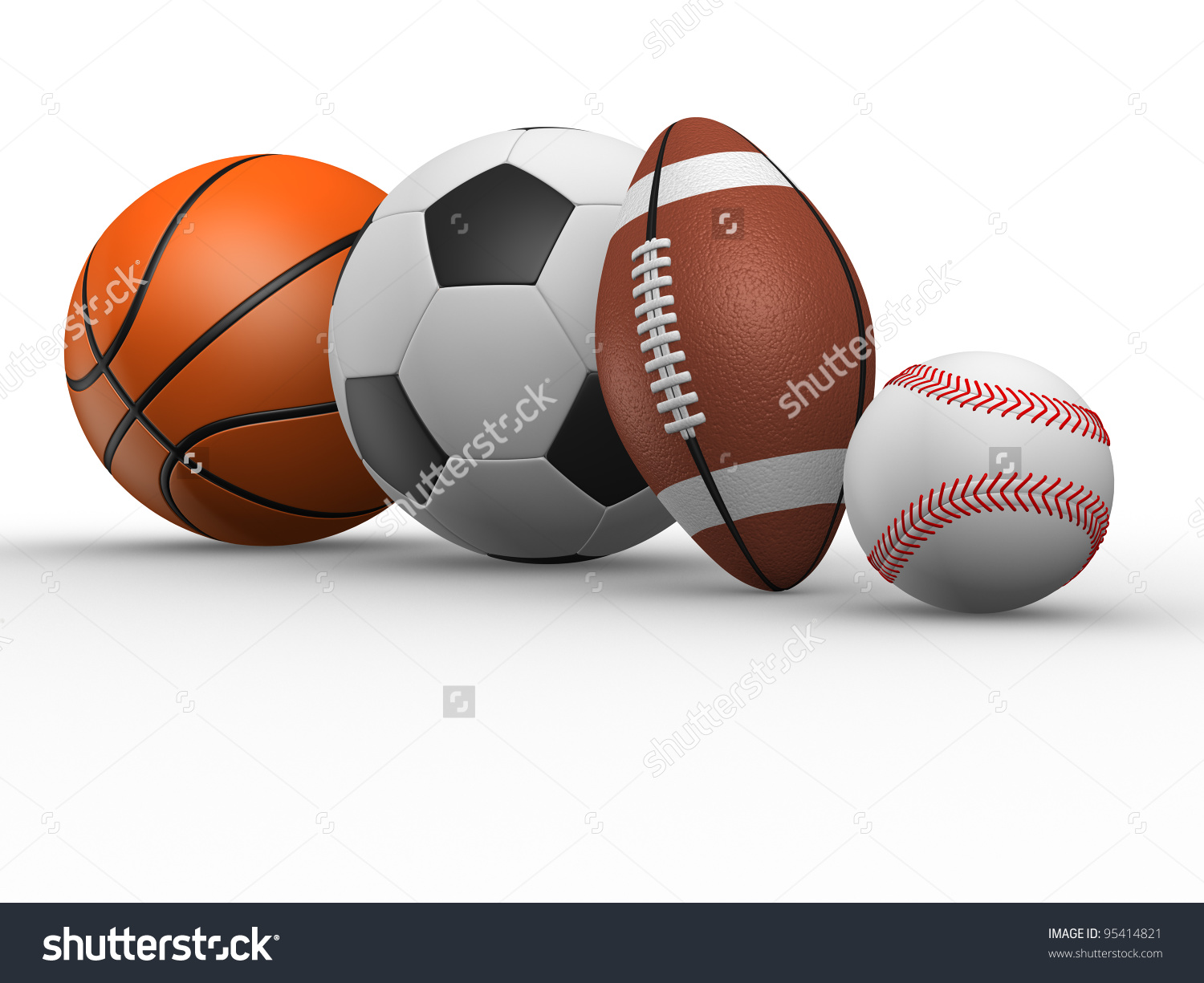 Football Rugby Baseball Basketball 3d Render Stock Illustration.