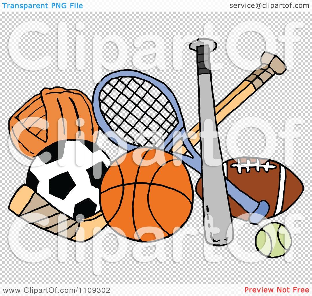 Clipart Baseball Soccer Basketball Hockey Tennis And Football.