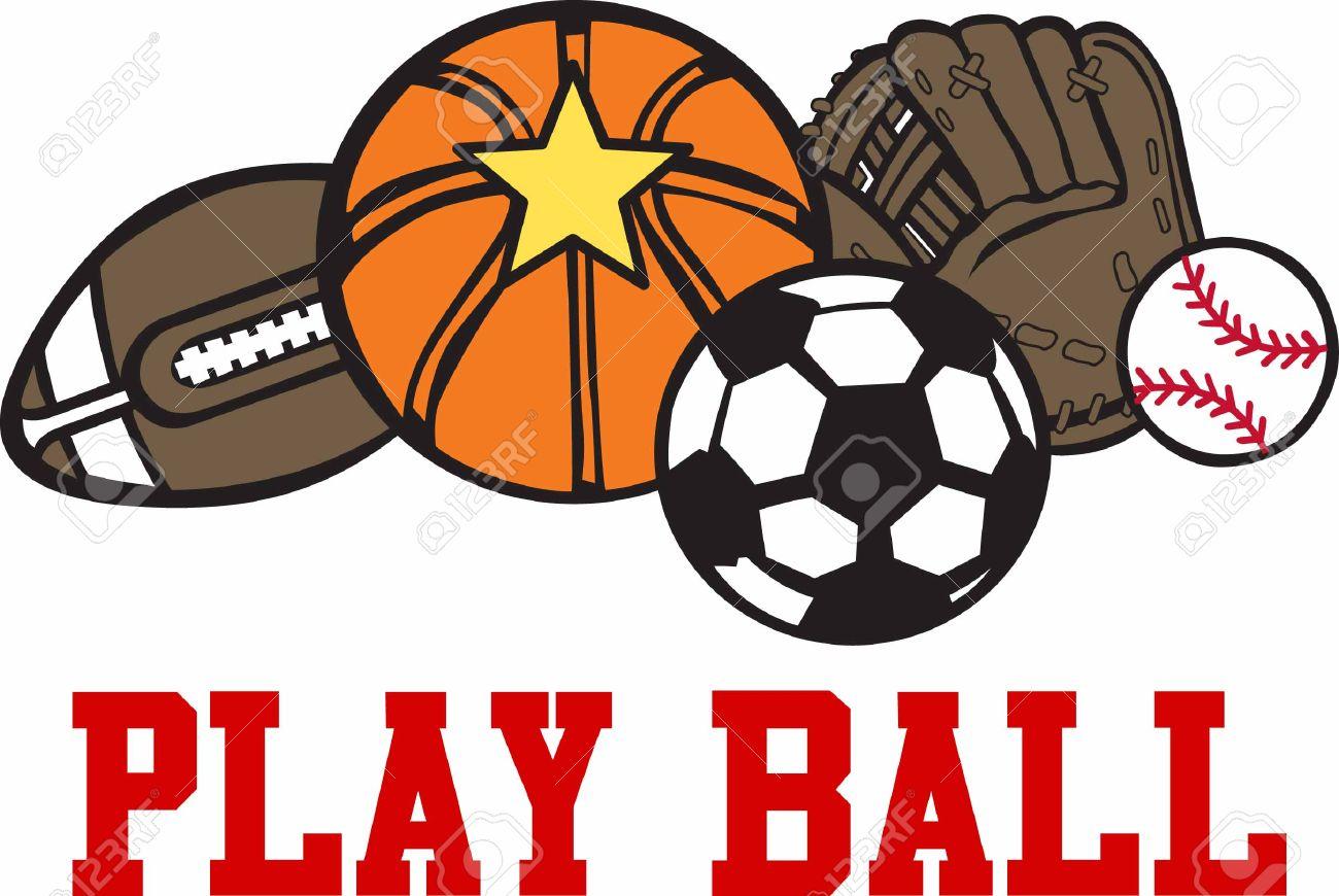 Basketball Football Baseball Mitt And Soccer Game Balls. Royalty.