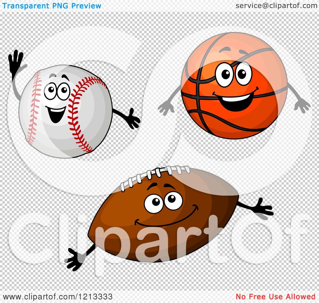 Clipart of Baseball Basketball and Football Mascots.