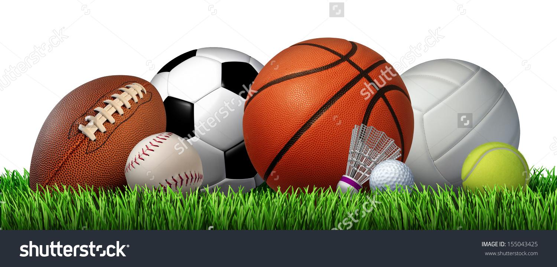 Recreation Leisure Sports Equipment On Grass Stock Illustration.