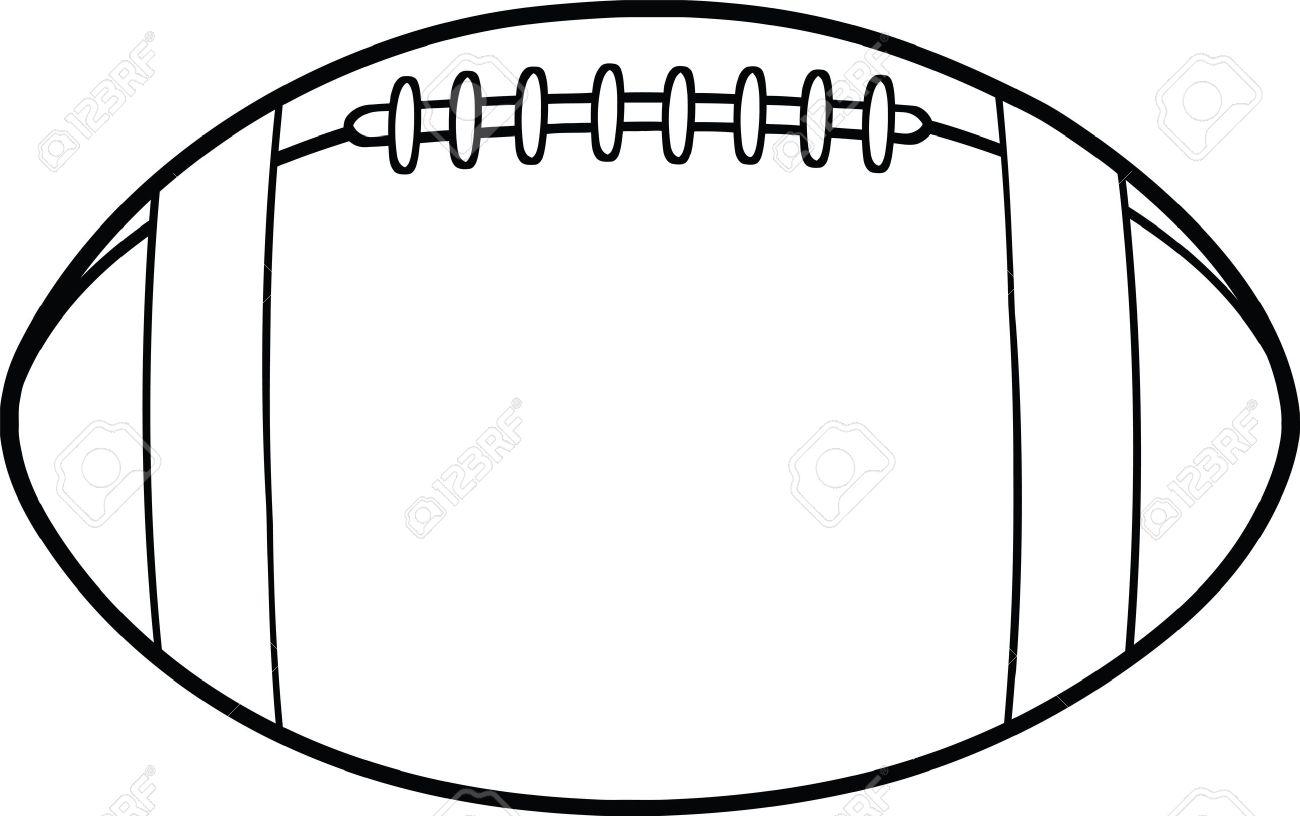 Black And White American Football Ball Cartoon Illustration.