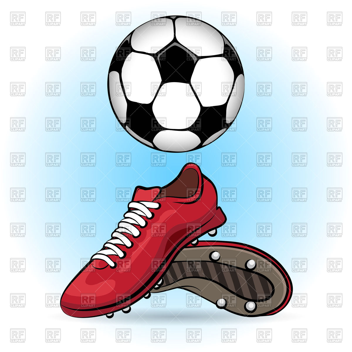 Sporting shoes and soccer ball.