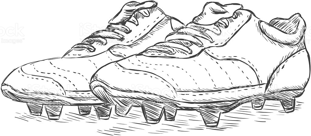 Vector Sketch Illustration Football Boots stock vector art.
