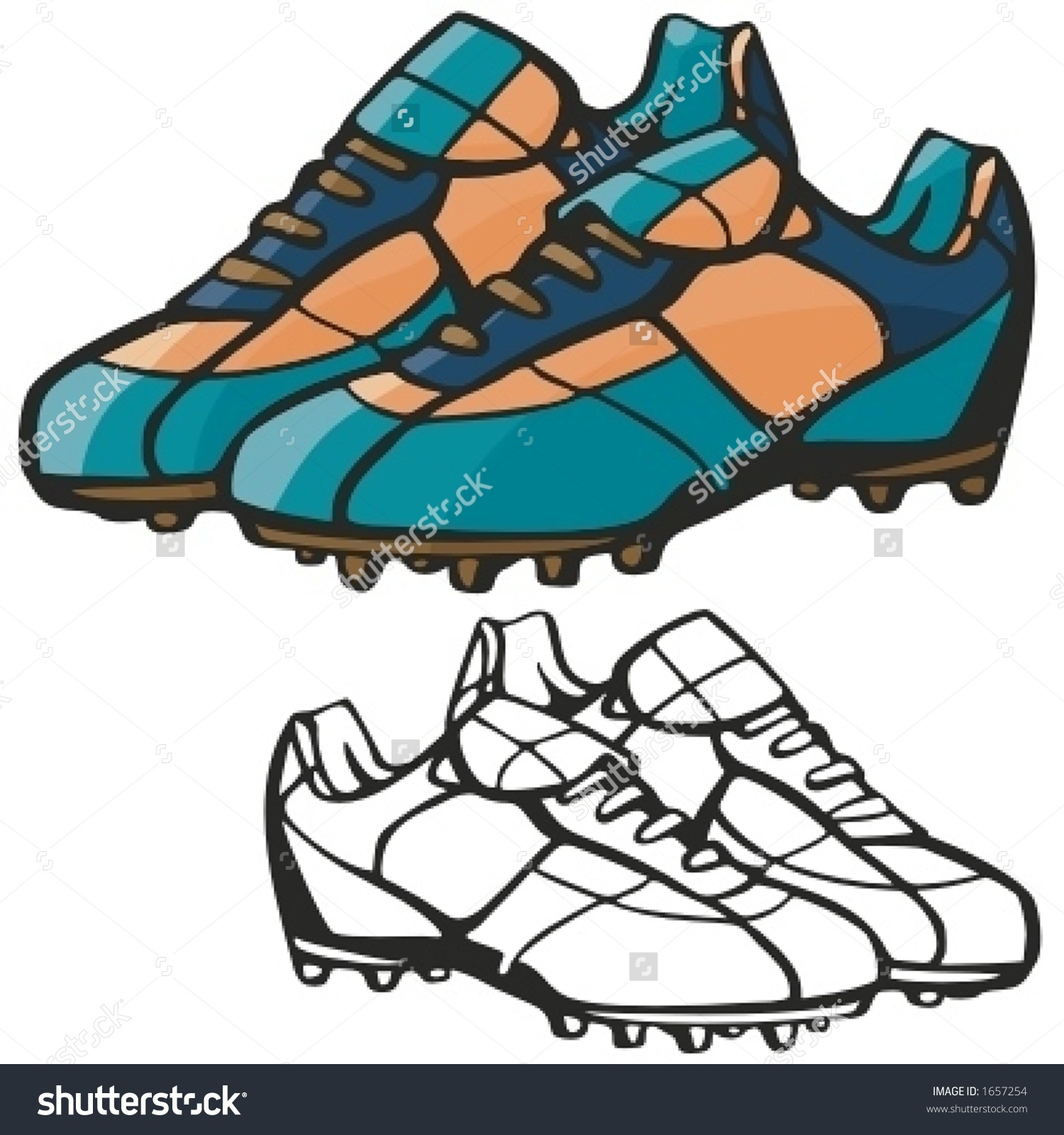 American Football Boots. Vector Illustration.