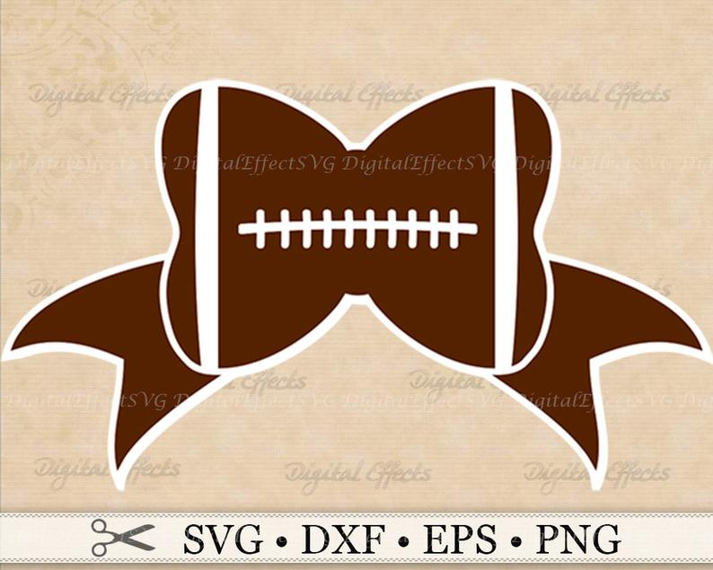 FOOTBALL BOW SVG, Png, Dfx, Eps, Bow Svg, Football Svg File, Sports Svg.  Silhouette Studio, Cricut Cut Files, Football Clipart Svg Files.