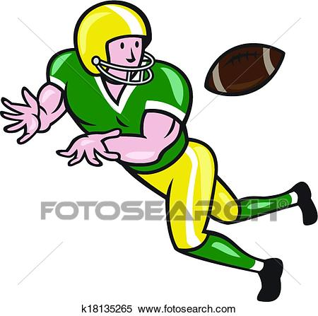 American Football Wide Receiver Catch Ball Cartoon Clipart.