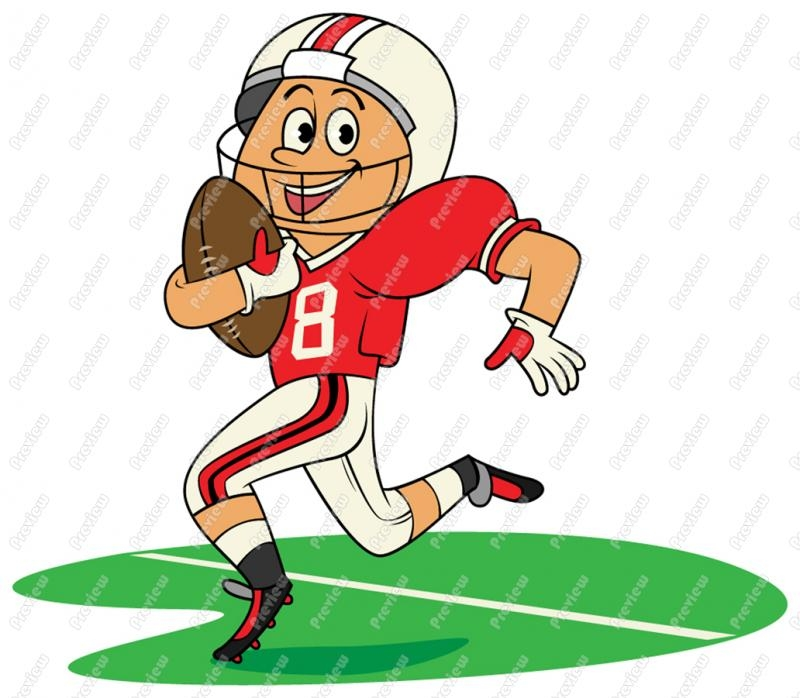 Kids Playing American Football Clipart.