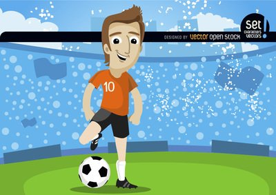 Footballplayer in field with crowd, Vector.