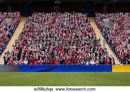 Stock Photography of Football crowd in stadium is098u5qa.