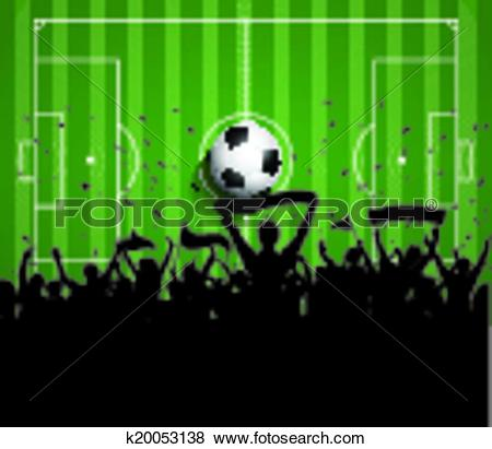 Clip Art of Soccer or Football crowd background k20053138.