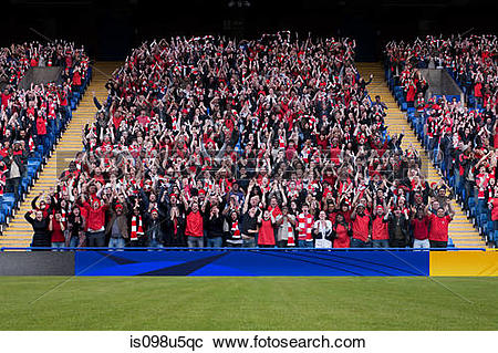 Stock Photography of Football crowd in stadium is098u5qc.