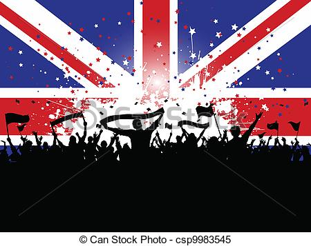 Clipart Vector of Football crowd with banners and flags on union.