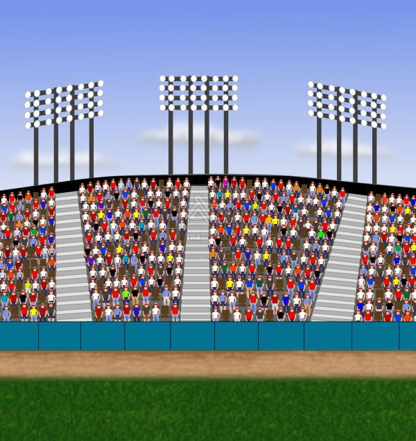 Best Cartoon Stadium Crowd Cheering Vector Library.