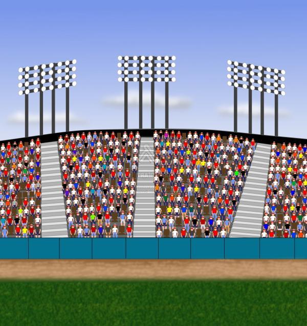 Best Cartoon Stadium Crowd Cheering Vector Library.