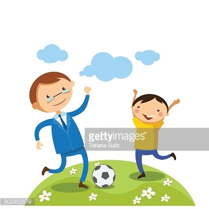 Dad and boy playing soccer (football) Clipart Image.