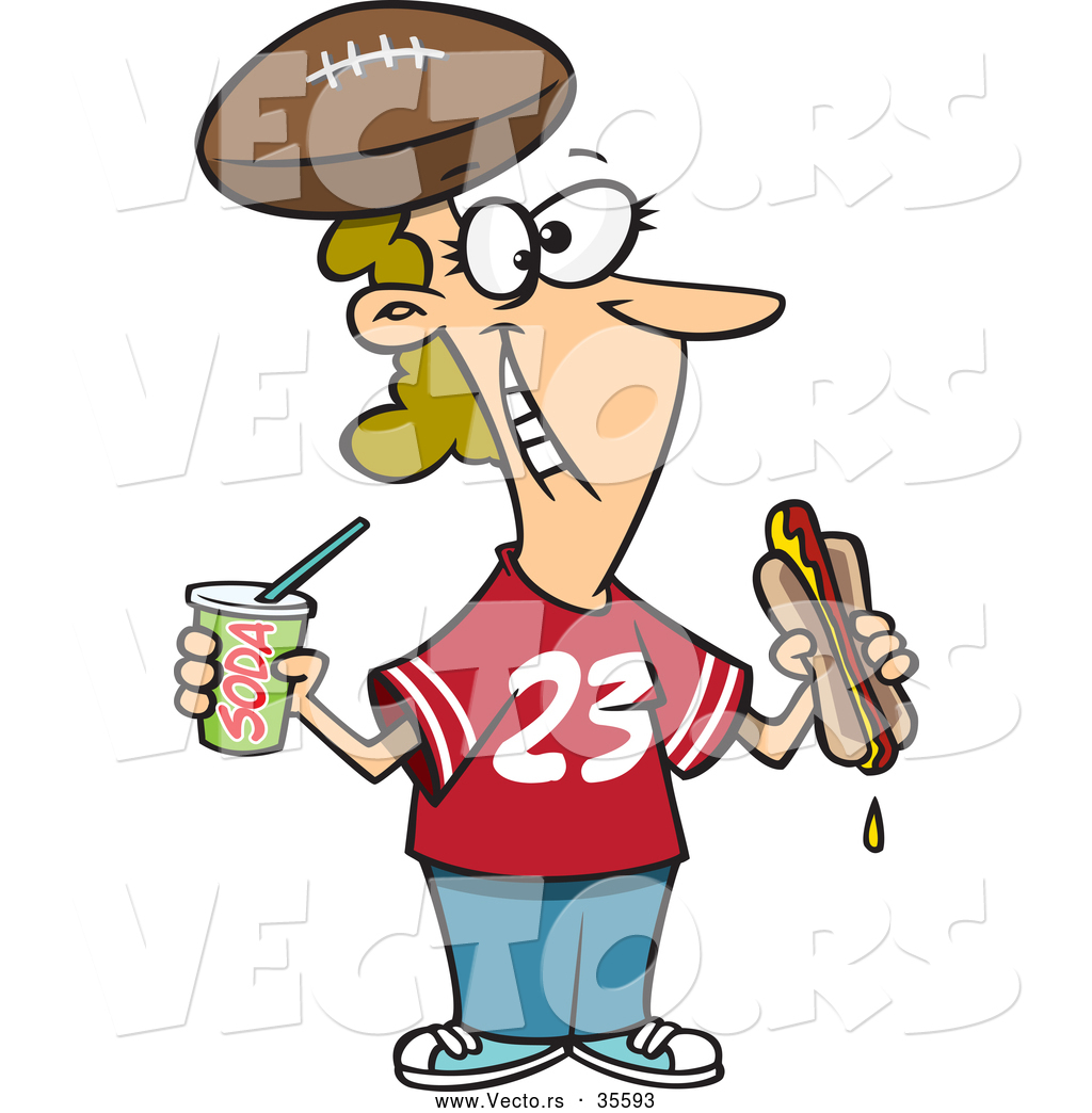 Football Fan with Hot Dog,.