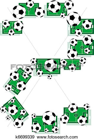 Clip Art of numbers 2 Two from the soccer balls football field.