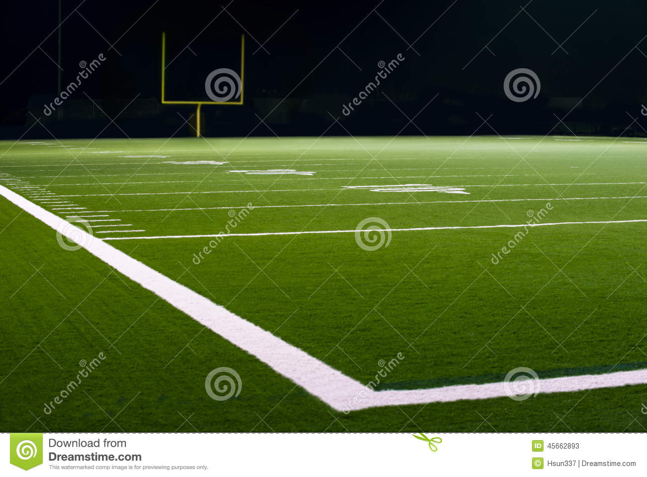 Yard Numbers And Line On American Football Field Stock Photo.