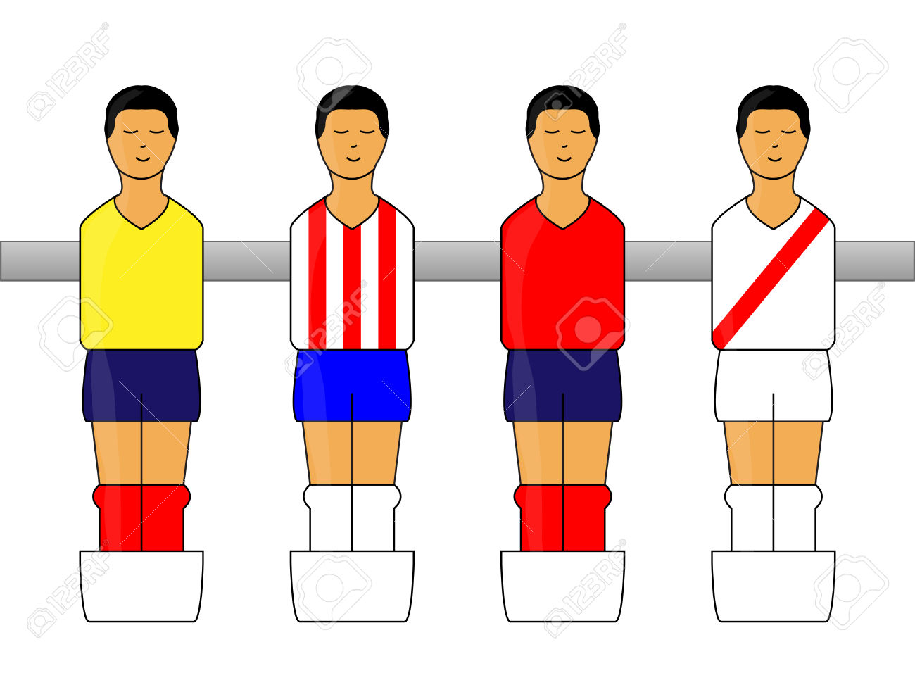 Table Football Figures With Latin American Uniforms Royalty Free.