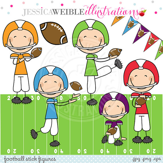 Football Boy Stick Figures Cute Digital Clipart Commercial.