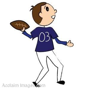Clip Art of a Stick Figure Football Player.