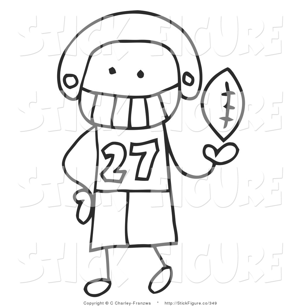 Royalty Free Stock Stick Figure Designs of Football Players.