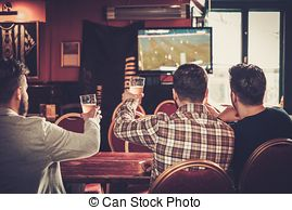 Stock Photo of Cheerful old friends having fun watching a football.