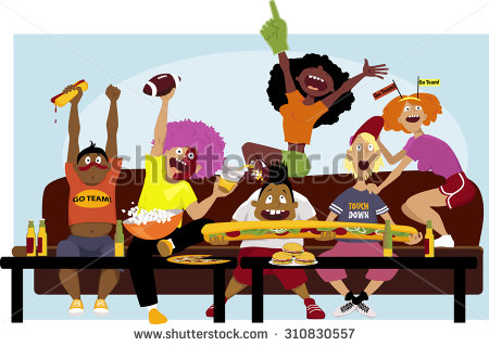 Diverse Group Friends Watching Football Game Stock Vector.